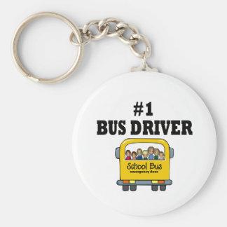 Conductor del autobús del número uno llavero redondo tipo pin