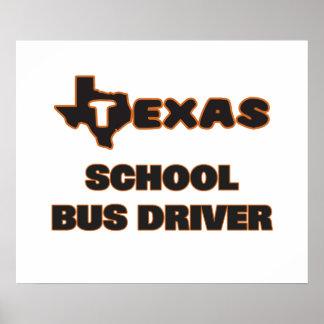 Conductor del autobús escolar de Tejas Póster