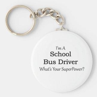 Conductor del autobús escolar llavero redondo tipo pin