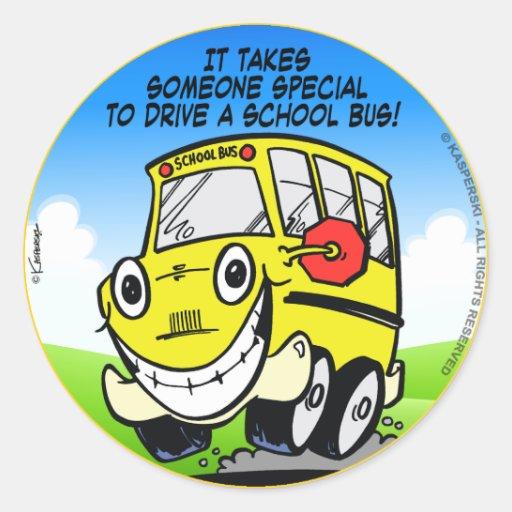 Conductor del autobús escolar pegatina redonda