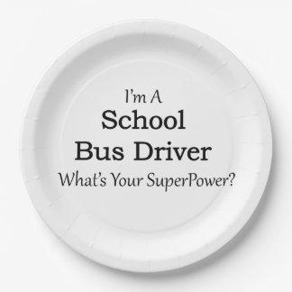 Conductor del autobús escolar plato de papel de 9 pulgadas