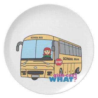 Conductor del autobús escolar plato para fiesta