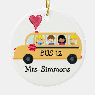 Conductor del autobús escolar - SRF Adorno Navideño Redondo De Cerámica