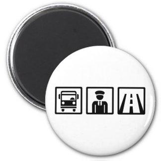 Conductor del autobús imán redondo 5 cm