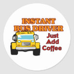 Conductor del autobús inmediato pegatina redonda
