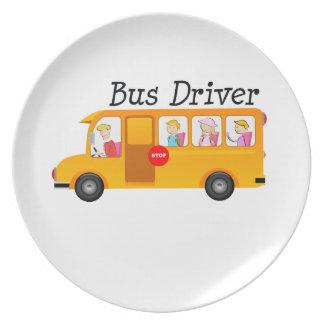 Conductor del autobús platos para fiestas