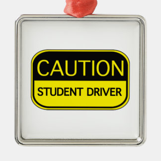 Conductor del estudiante de la precaución adorno cuadrado plateado