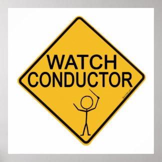 Conductor del reloj póster