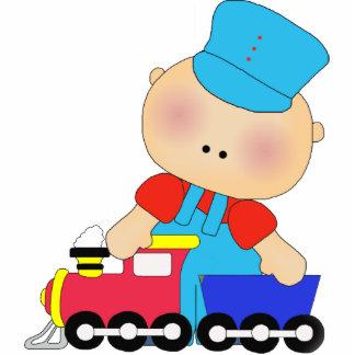 Conductor del tren del bebé de la escultura de la  fotoescultura vertical