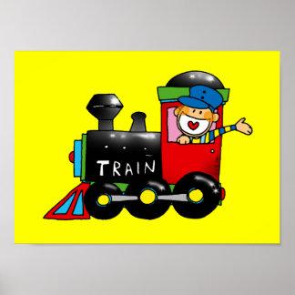 Conductor del tren del juguete de Choo-choo Póster