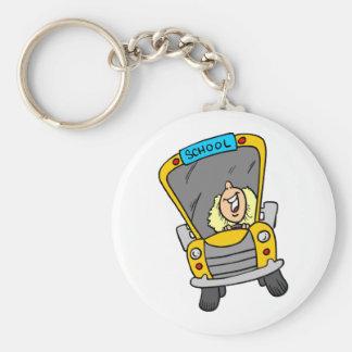 Conductor femenino del autobús escolar llavero redondo tipo pin