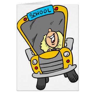 Conductor femenino del autobús escolar tarjeta de felicitación