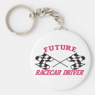 Conductor futuro de Racecar Llavero Redondo Tipo Pin