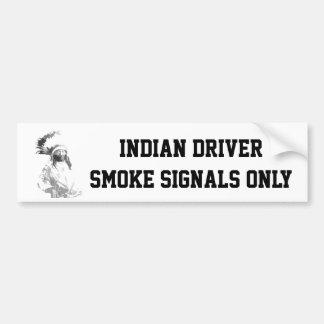 Conductor indio etiqueta de parachoque