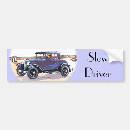 Conductor lento de los años 20 del automóvil color pegatina de parachoque