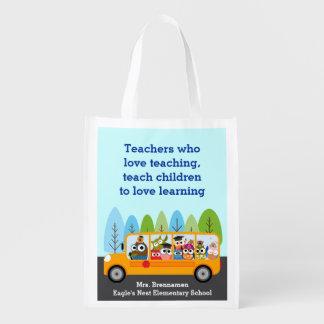 Conductor lindo del búho del autobús escolar bolsas reutilizables