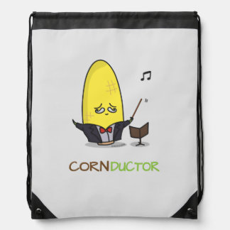 Conductor lindo del maíz del dibujo animado de mochila