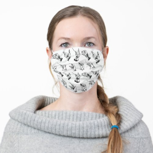 Conductor pattern in black and white adult cloth face mask