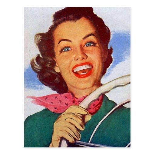 Conductor retro de la mujer de las mujeres del postales