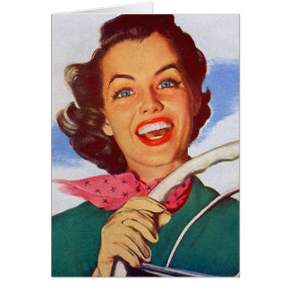 Conductor retro de la mujer de las mujeres del vin tarjeta