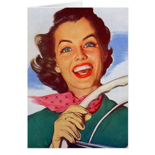 Conductor retro de la mujer de las mujeres del vin tarjeta de felicitación
