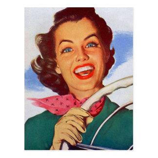 Conductor retro de la mujer de las mujeres del vin tarjeta postal