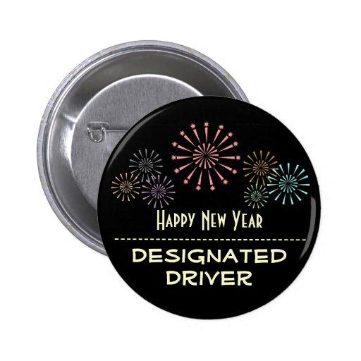 Conductor señalado de la Feliz Año Nuevo Pin Redondo 5 Cm
