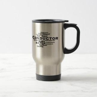 Conductor Word Cloud BLACK Text Travel Mug