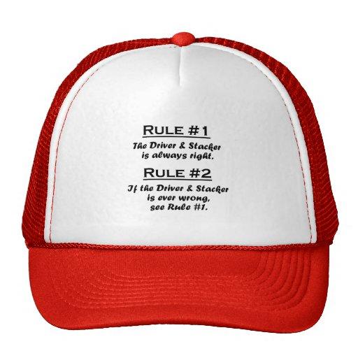 Conductor y apilador de la regla gorras de camionero