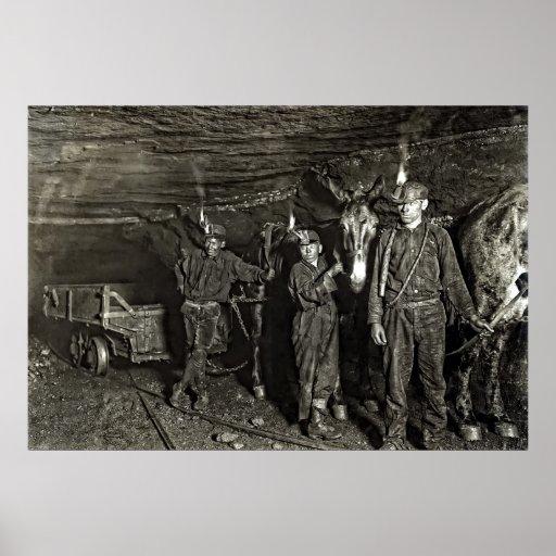 CONDUCTORES de MULA en la MINA de CARBÓN 1908 Poster