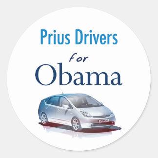 Conductores de Prius para los pegatinas de Obama Pegatina Redonda