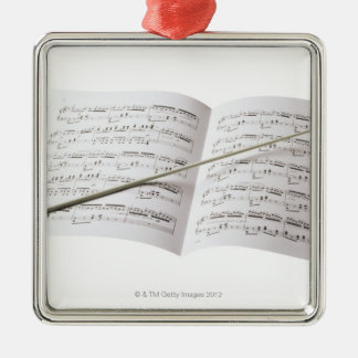 Conductor's Baton Square Metal Christmas Ornament