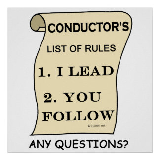 Conductor's :List of Rules Poster