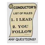 Conductor's List Of Rules Poster