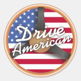 ¡Conduzca al americano! Etiquetas Redondas