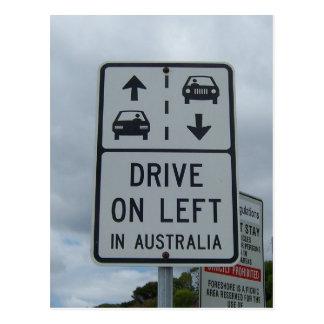 Conduzca en izquierda en la muestra de Australia Postal