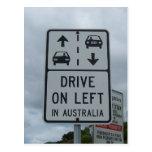 Conduzca en izquierda en la muestra de Australia Tarjeta Postal