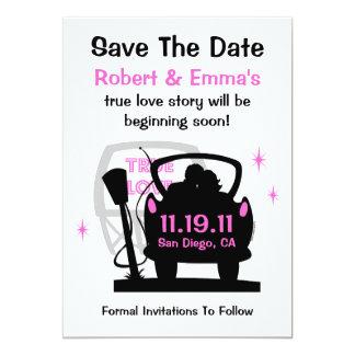 Conduzca en recienes casados ahorran la invitación invitación 12,7 x 17,8 cm
