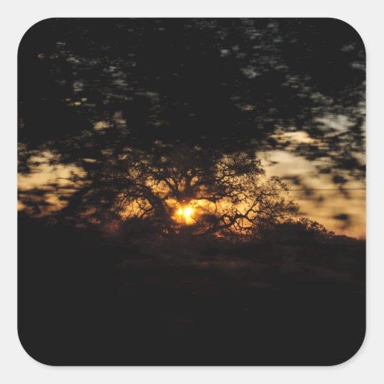 Conduzca por puesta del sol pegatina cuadrada