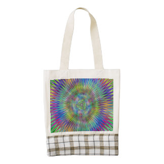 Cone Center Abstract Green Zazzle HEART Tote Bag