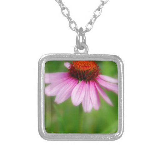 Cone Flower  Abstract Print Square Pendant Necklace
