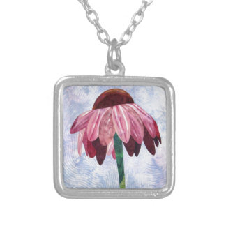 Cone Flower Art Quilt Silver Plated Necklace