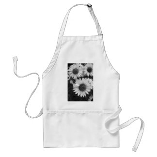 Cone Flowers - Daisy - In Black and White Adult Apron