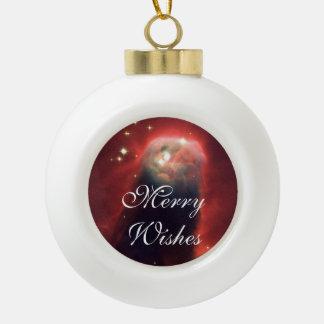 Cone Nebula in space - Jesus Ceramic Ball Christmas Ornament