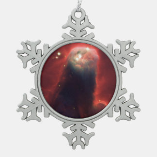 Cone Nebula in space - Jesus Snowflake Pewter Christmas Ornament
