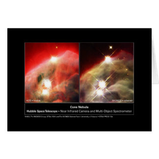 Cone Nebula NGC 2264 Hubble Visible vs. Infrared Greeting Card