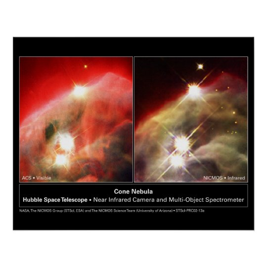 Cone Nebula NGC 2264 Hubble Visible vs. Infrared Poster