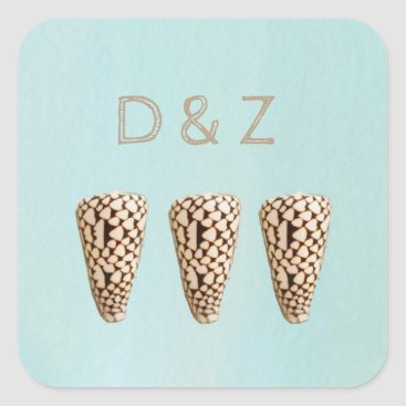 Beach Themed Cone Shell Coastal Wedding Stickers