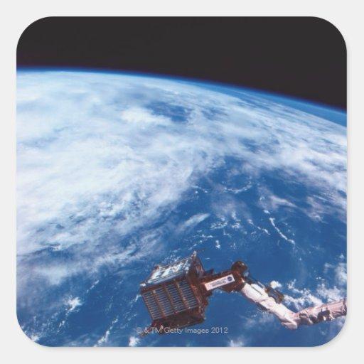 Conecte a tierra de un transbordador espacial 2 calcomania cuadradas personalizada