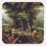 Conecte a tierra o el paraíso terrestre, 1607-08 colcomanias cuadradases